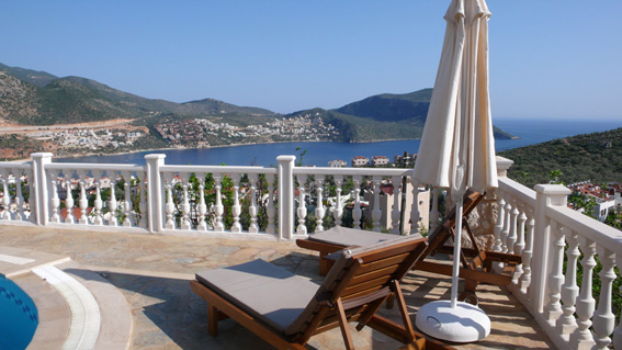 Pool terrace with view of Kalkan bay