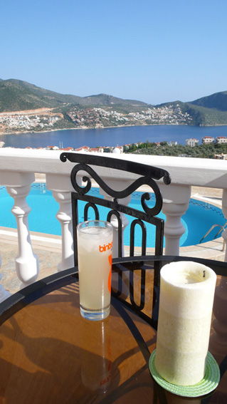 Cool drink and view over pool terrace and bay from lounge terrace