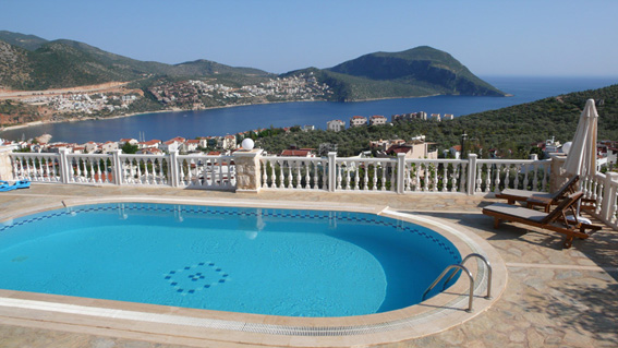 Large pool with views over Kalkan bay