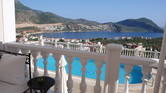 Stunning view of pool and Kalkan bay from lounge terrace