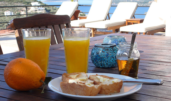 Breakfast on terrace by private pool