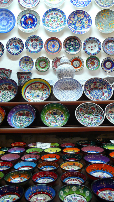 Traditional Turkish ceramics on display in Kalkan