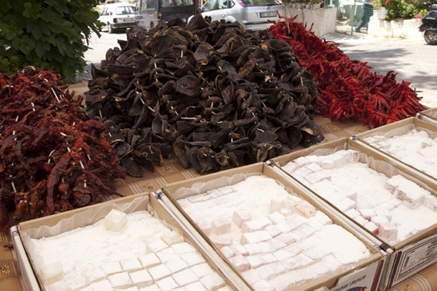 Delicious Turkish Delight in boxes at market, and dried vegetables