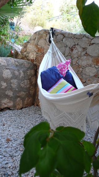 Large hammock in shade at Kalkan villa rental