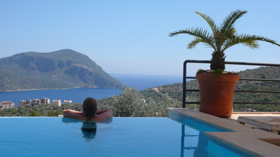 The pool and view over Kalkan harbour