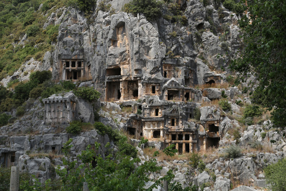 Ancient rock tombs at Myra, built into the side of the mountain