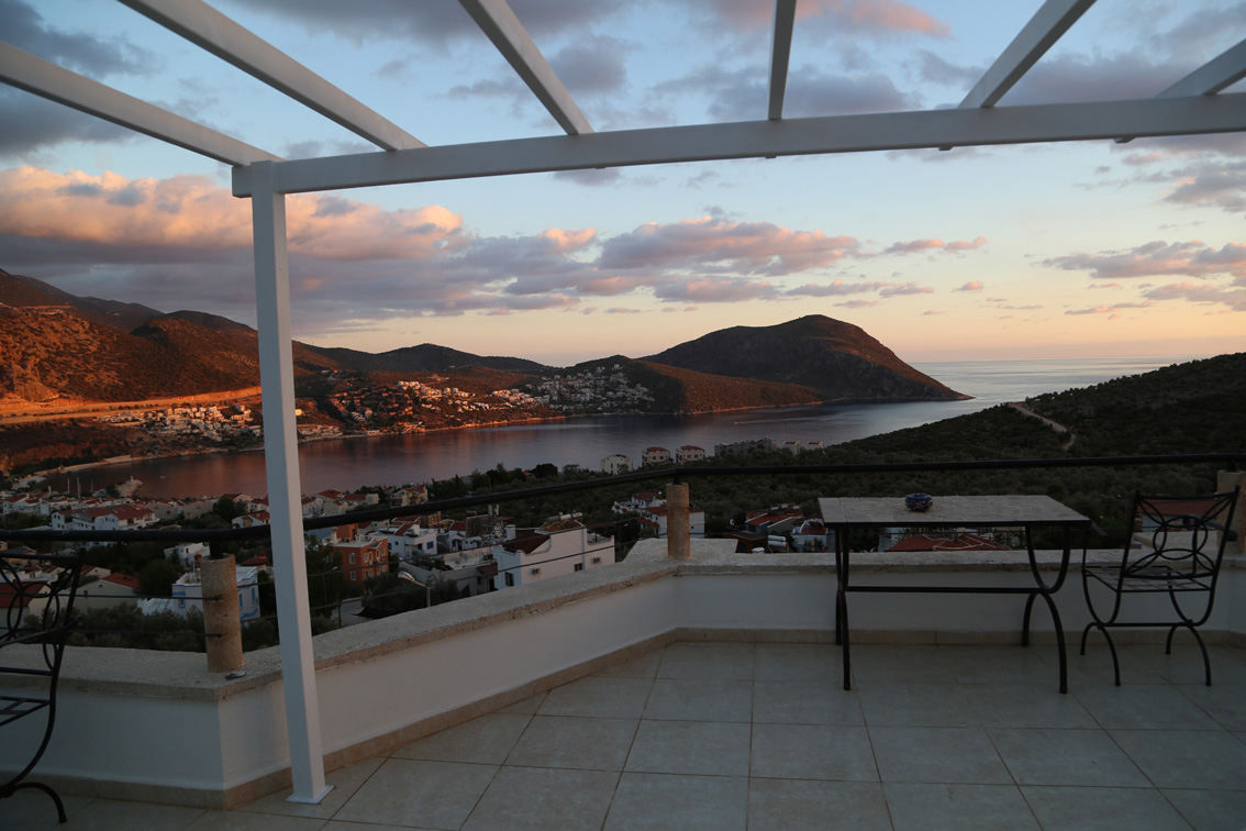 View of sea and Kalkan from roof terrace at sunsets