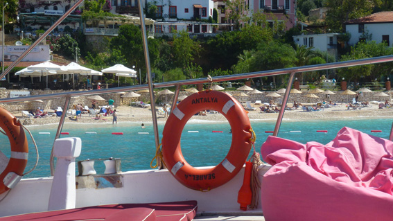 Kalkan beach as seen from onboard a traditional Turkish gulet