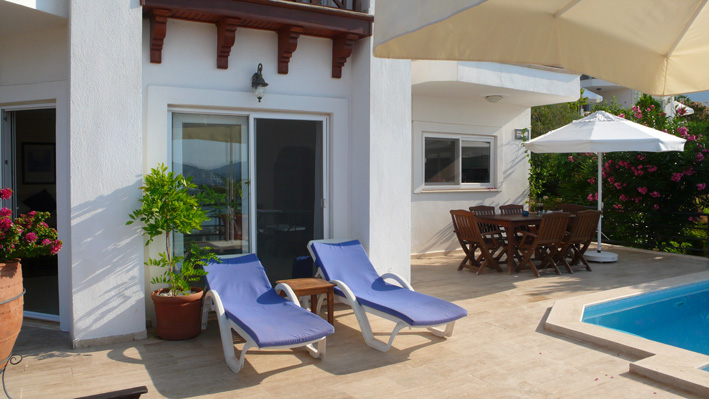 Sunloungers on private terrace of holiday villa rental, Kalkan