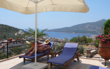 Private terrace with sweeping sea views to relax on sun loungers