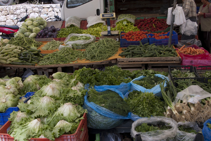 Vegetables on display at Kalkan's Thursday market