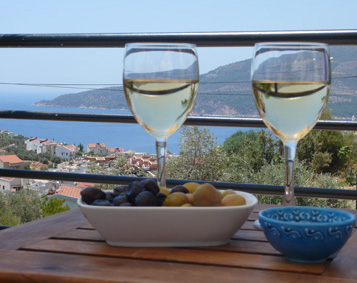 Local olives and chilled wine on pool terrace with sea views