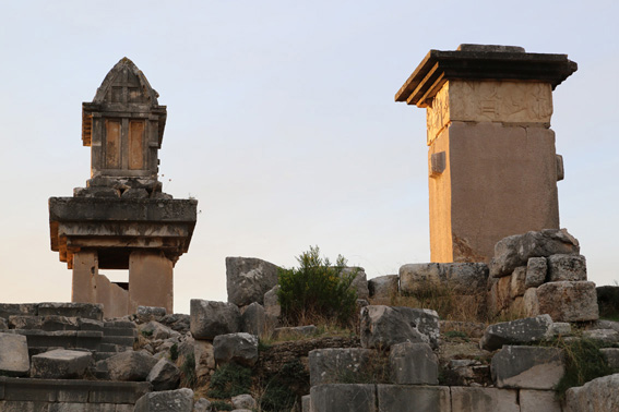 The Ancient City of Xanthos tombs at sunset
